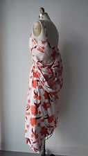Dries Van Noten Floral Printed & Appliques Silk Draped Asymmetrical Dress Sz 38