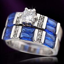 18K WHITE GOLD GF VINTAGE SQUARE BLUE SAPPHIRE DIAMONDS ENGAGEMENT WEDDING RINGS