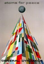 Milieu du siècle eames era 1950 General Dynamics Atomes pour la paix A3 Poster Art Print