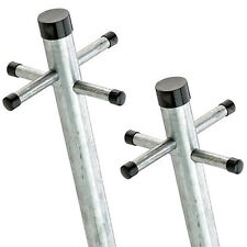 2.4M TWIN PACK Galvanised Washing Clothes Post Pole Line Dryer (2x) with Socket