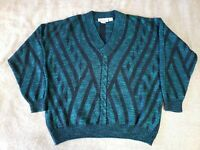 Damon of Italy V-neck Sweater Made In Italy Green Blue Black Size Men's Large