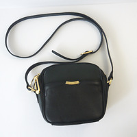Tahari Women's Black Leather Crossbody Shoulder Bag Small Purse