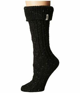 UGG Shaye Tall Black Women's Rain Boot Cable Knit Socks 1016228