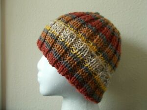 Hand knitted cozy and warm  wool hat, rusty/gray/yellow/cream