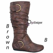 Womens Shoes Mid Calf Knee High Slouch Boots Comfort Casual Flat Buckles Stap