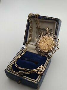 1914 22ct Gold Half Sovereign Pendant On 9ct Yellow Gold Necklace And Mount