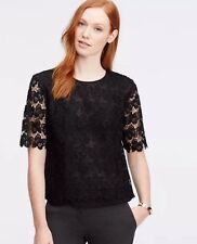 NWT ANN TAYLOR Floral Cut Lace Short Sleeves Top Blouse Black XS $98