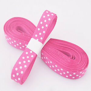 "5yds 3/8""(10 mm) Rose RedChristmas Ribbon Printed lovely dots Grosgrain Ribbon"
