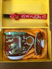 China Art Dragon Ceramic Tea Mug Cup with Lid & Chopstick & Soft Holder,New