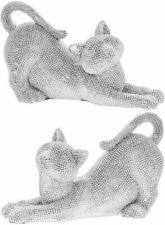 More details for leonardo silver art cat stretch figurine diamante sparkly cat ornaments