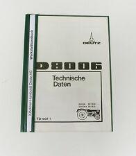 DEUTZ D 80 06  Werkstathandbuch Techische Daten Schlepper Traktor Original 1970