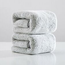 Bathroom Face Towel Absorbent Gray Microfiber Home Adults Washrobe 2pcs 75x35cm