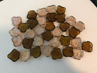 34 Decorative Clear Glass 1.5 Inch Autumn Leaves Pebble Stones Opalescent Brown