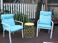 SET OF 2 WHITE METAL OUTDOOR CHAIRS WITH BLUE & WHITE CHECKERED CUSHIONS