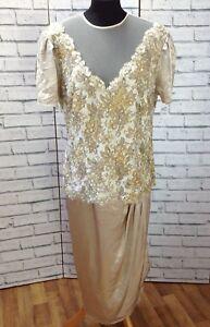 Vintage Nude Sequin Pearl Lace Dress Size16 Black Satin 1960-50s