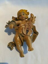 VINTAGE CHERUB ANGEL FIGURE WALL HANGING WITH VIOLIN CHRISTMAS ITALY
