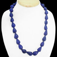 TOP MOST DEMANDED 426.50 CTS EARTH MINED PEAR CARVED BLUE SAPPHIRE BEAD NECKLACE