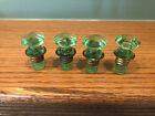 Antique Set of 4 Green Depression Era Glass Molded Furniture Knobs Pulls