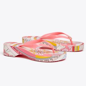 Tory Burch Flip Flops PVC Sandals Cut Out Wedge Platform Pink Constellation 9 11