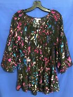 NWT SPENSE WOMAN Colorful Thin CREPE STRETCH Bell Sleeve FLORAL Blouse/Top Sz X