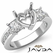 Three Stone Diamond Wedding Ring 18k White Gold Princess Heart Semi Mount 1.1Ct