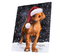 Let it Snow Christmas Rhodesian Ridgeback Dog Tempered Cutting Board Large Db2