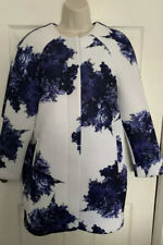 Atmosphere White Blue Floral Duster Coat Size 10-12