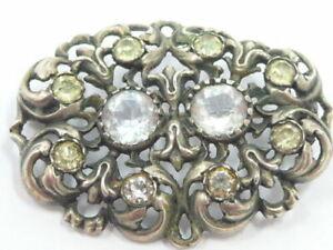 Damenbrosche Jugendstiel Silber 900, mit Zirkonia um 1920 Art Deco