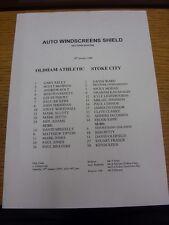 Oldham Athletic V 18/01/2000 teamsheet: Stoke City [Auto Parabrisas Escudo]. th