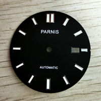 PARNIS 32.7mm black watch dial fit for NH35A Automatic movement date window