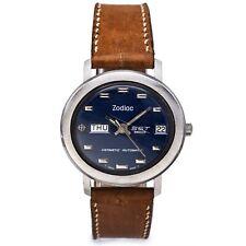 Vintage Zodiac Hermetic SST 36000 Blue Dial Men's Automatic Day Date Watch