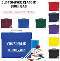 Personalised Classic Kids Book Bag Plain Embroider Any Text Name School  QD456