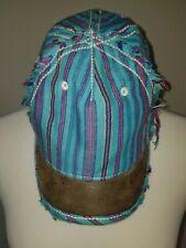 TRUE RELIGION Hat Teal/Pink Stripe Distressed Adjustable Leather Strap  Women's