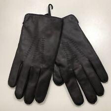 *Stewart of Scotland Mens Leather Gloves Merino Wool Slit Cuff Brown/Blue Sz M
