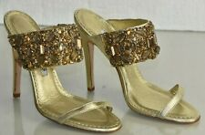 $1135 NEW Manolo Blahnik DOGE 115 Slides Mules Gold Sandals Jeweled Shoes 37