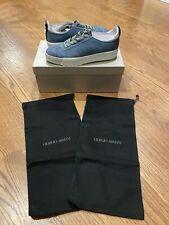 $695 Men's Authentic Giorgio Armani Blue Gray Suede Low Top Sneaker US 8