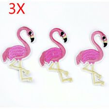 3PCS Pink Flamingo Bird Embroidery Iron On Patch Sew For Clothing Applique Motif