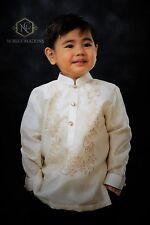 BARONG TAGALOG Philippine National Costume FILIPINIANA Formal Dress Kids - Beige