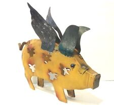 Flying Pig Metal Yard Art Home Decor Rustic Sculpture Texas 12in x 13in New
