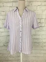 Womens BM Purple White Short Sleeve Button Front Stripe Smart Shirt Top Size 14