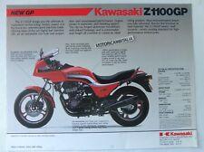 Kawasaki moto Z1100 GP GPZ  GPZ1100  pubblicita brochure depliant motorcycles