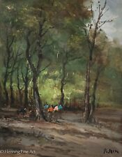 Vintage Impressionist Oil Painting of Horsemen in Woods, Illegibly Signed, Nice!