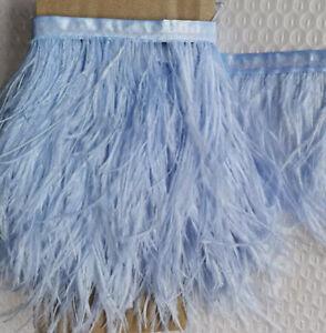 6 Metres Palest Blue Ostrich 10-15cm Feather Fringe Ribbon Trim Tassel DIY Craft