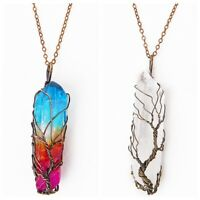 Clear Rainbow Crystal Tree Of Life Chakra Pendant Bronze Wire Wrap Necklace aa
