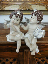 Engel Figuren Set Putte Dekofigur Kantensitzer Silber Skulptur Edel Antik Barock