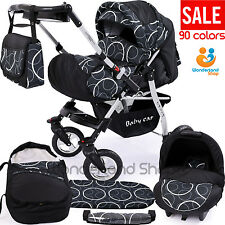 Pushchair SWIVEL WHEELS+ 3in1 + Car Seat + baby pram + stroller + Buggy 90cols.