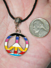 "PEACE LOGO Necklace RAINBOW Enamel Charm Choker Cord 12""-30"" OR Silver Chain NEW"