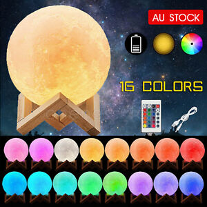 Dimmable 3D Lunar Moon Lamp Moonlight LED Night Light Touch Pat Remote 8-20cm