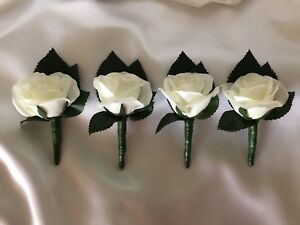 Silk Off White Rose Groom Groomsmens Wedding Bridal Flowers Set Of 4 Buttonholes