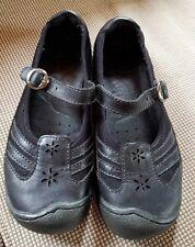 Women's Shoes KEEN Paradise Pierced Black Leather Mesh Buckle sz 7 M Mary Janes